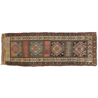 Antique Caucasian Kazak Carpet Runner With Modern Tribal Style, 3'11 X 11'2 For Sale