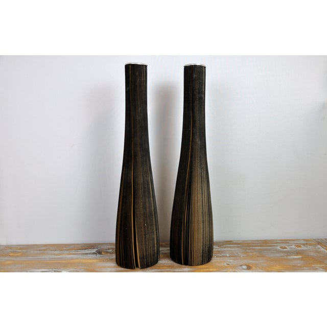 Contemporary Pair of Reclaimed Craft Paper Designer Minialist Vases Like New For Sale - Image 3 of 13