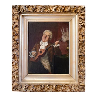 MId 19th Century Musician Portrait Oil Painting by Claudio Rinaldi, Framed For Sale