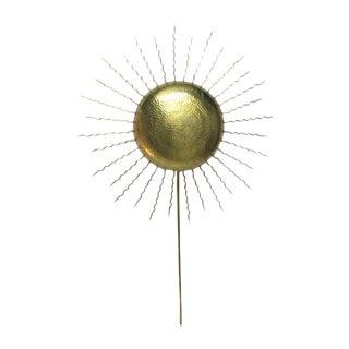 Vintage Hammered Brass Sunburst Sconce
