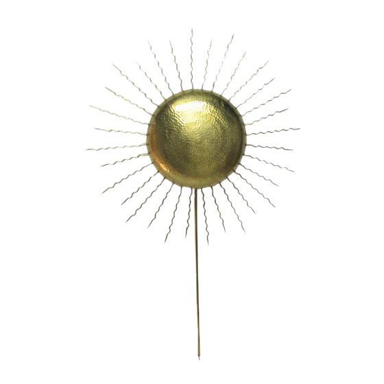 Vintage Hammered Brass Sunburst Sconce - Image 1 of 5