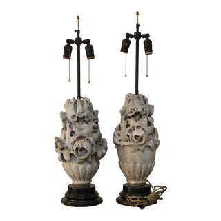 Early 20th Century Architectural Concrete Botanical Form Table Lamps - a Pair For Sale