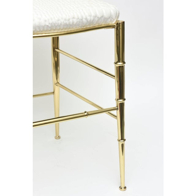 Vintage Mid Century Italian Chiavari Faux Bamboo Brass and Upholstered Side Chair For Sale In Miami - Image 6 of 11