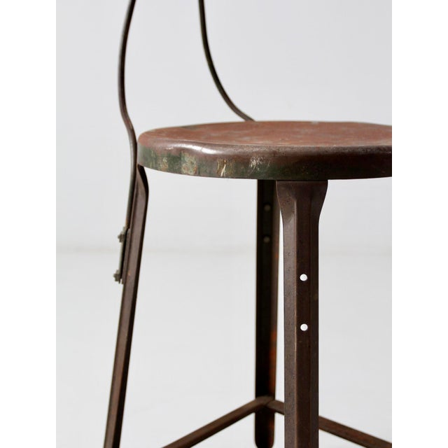 Green Vintage Industrial Drafting Stool For Sale - Image 8 of 12