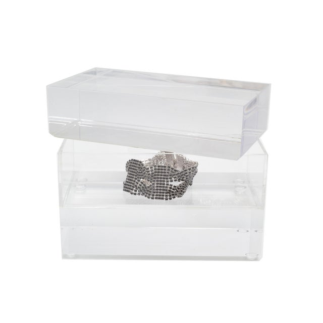 Transparent Jewelry Box in Clear Lucite w/ Transparent Center Piece For Sale - Image 8 of 10