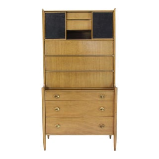 Tall Highboy Light Walnut Multi-Drawer Cabinet Sliding Leather Doors Brass Pulls For Sale
