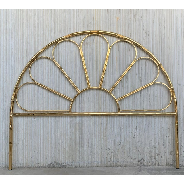 Gold Mid-Century Modern Italian Faux Bamboo Gilt Metal Queen Headboard For Sale - Image 8 of 8