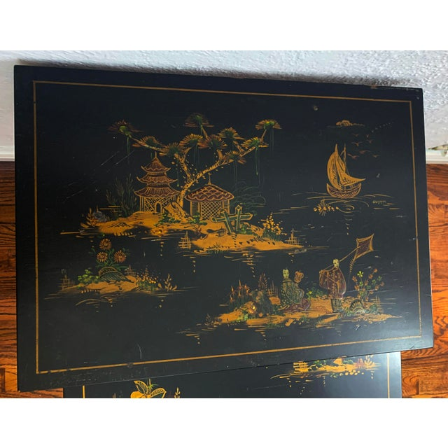 1940s Japanese Black Lacquer Nesting Table With Hand Painting - Set of 3 For Sale In Denver - Image 6 of 13