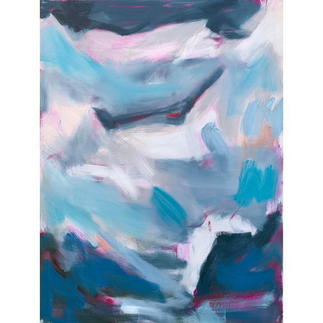 "Abstract ""High Seas"" by Trixie Pitts Large Triptych Abstract Oil Painting For Sale - Image 3 of 13"