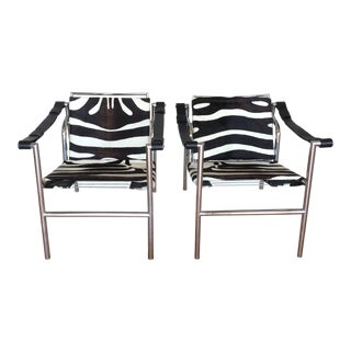 Vintage Mid Century Le Corbusier Pony Hair Chairs For Sale