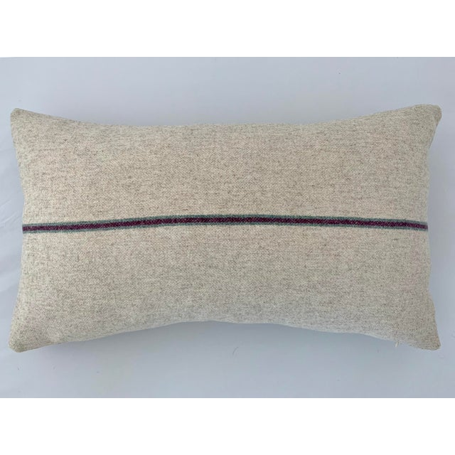 Cabin Italian FirmaMenta Eco-Friendly Burgundy and Sage Green Stripes Cream Wool Lumbar Pillow For Sale - Image 3 of 3