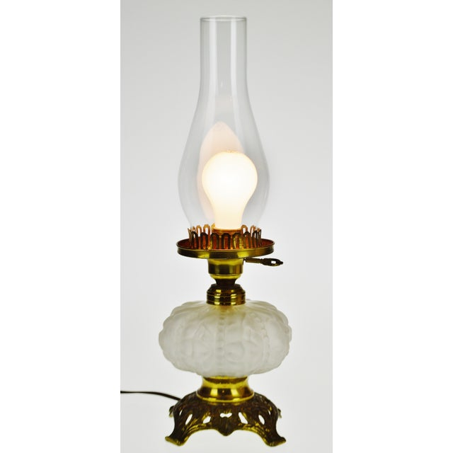 Vintage Electrified Frosted Glass Oil Lamp For Sale - Image 13 of 13