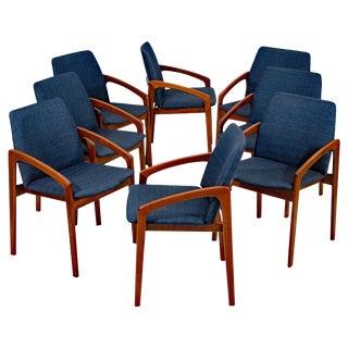 Set of Eight Dining Chairs, Kai Kristiansen for K. S. Møbler, Denmark For Sale