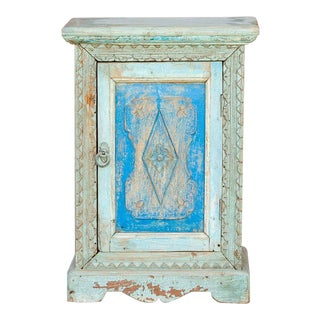 Moorish Blue Carved Cabinet For Sale