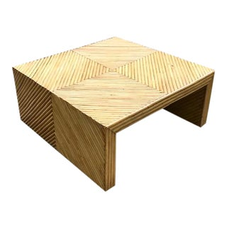 Vintage Split Bamboo Waterfall Coffee Table For Sale