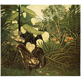 "1951 Henri Rousseau Original ""Fight Between a Tiger and a Buffalo"" Photogravure For Sale"