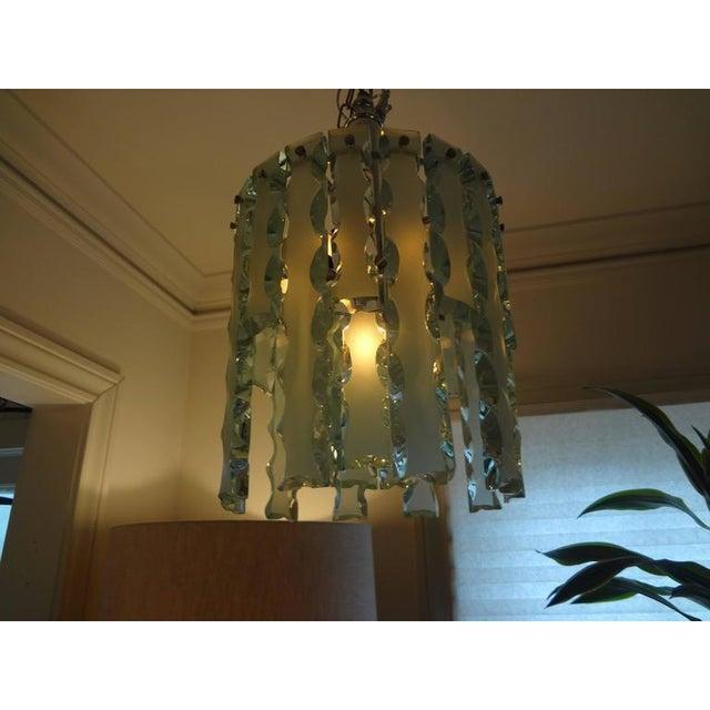 Metal 1960's Italian Zero Quattro -Fontana Arte Frosted Glass Lantern or Chandelier For Sale - Image 7 of 12