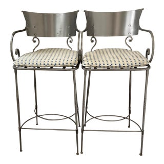 Vintage Italian Klismos Style Steel Bar Stools ~ a Pair For Sale