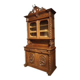Antique French Oak Black Forest Style Cabinet With Deer Trophy, Late 19th Century For Sale