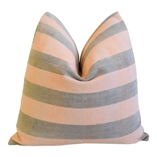 """Pink & Gray Boho-Chic Striped Turkish Carpet Feather/Down Pillow 18"""" Square For Sale"""
