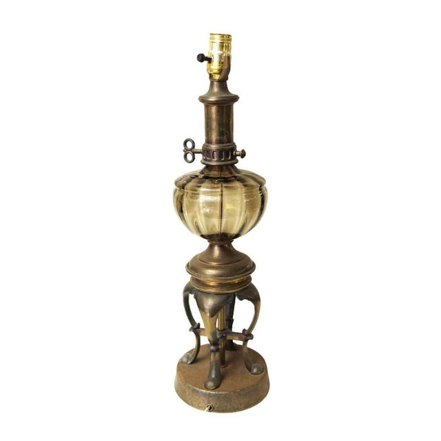 Vintage Brown Glass Oil Lamp Style Electrified Table Lamp For Sale - Image 13 of 13