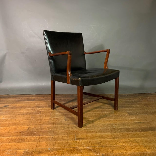 Jacob Kjær 1940s Leather and Mahogany Armchair, Denmark For Sale - Image 10 of 10
