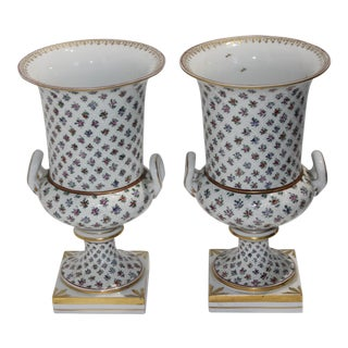 Dresden Porcelain Urns - a Pair For Sale