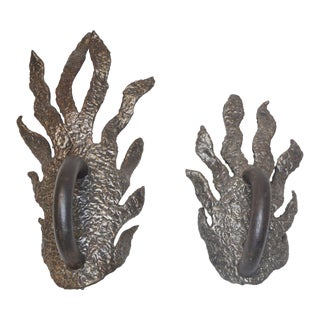 Pair of Sculptural Bronze Door Pulls For Sale