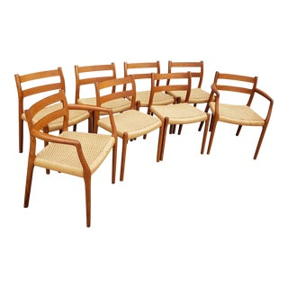 1970's Danish Niels Moller #84 Teak Dining Chairs- Set of 8 For Sale