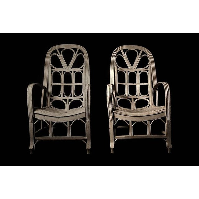 Pair of Large Elegant White Cane Conservatoire Chairs - France, early 20th Century - Image 2 of 8