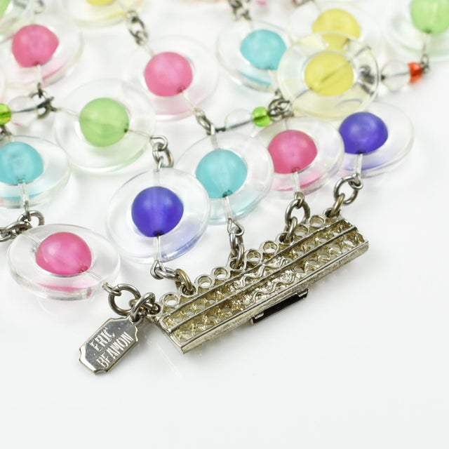 Lucite Eric Beamon Multicolor Lucite Link Bracelet With Charms For Sale - Image 7 of 9