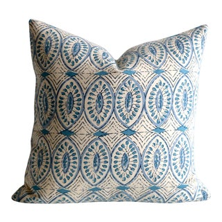 Aqua Block Print Pillow Cover 20x20 For Sale