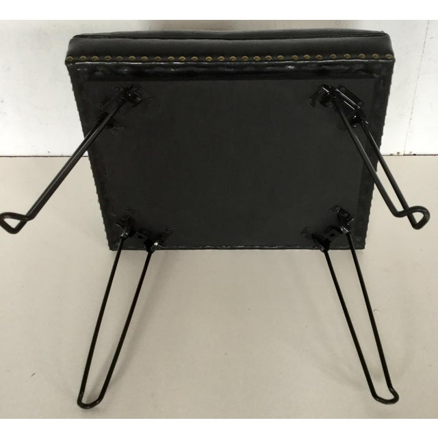 Modern Black Leather Occasional Stool Folding Legs For Sale In Boston - Image 6 of 11