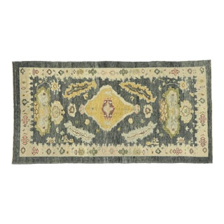 Contemporary Turkish Oushak Gallery Rug- 4′11″ × 9′6″ For Sale