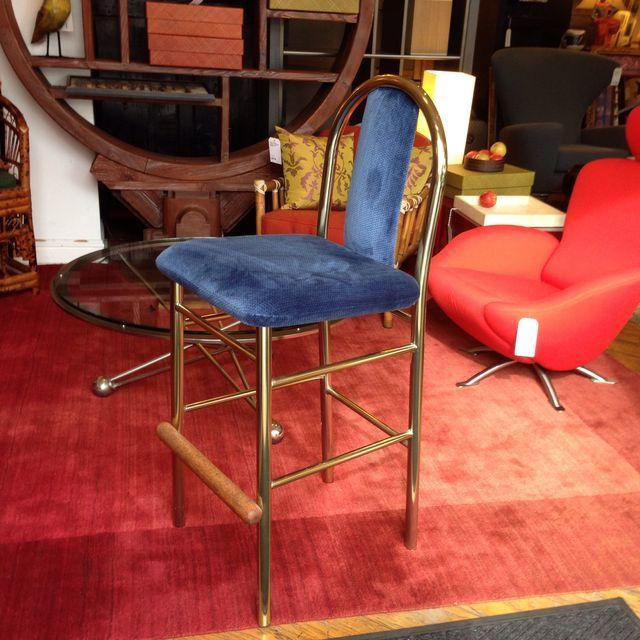 Brass Barstool With Blue Upholstered Seat - Image 6 of 6