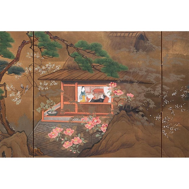 Early 20th Century 1920s Vintage Japanese Landscape Scene Byobu Screen For Sale - Image 5 of 13