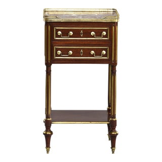 Louis XVI Style Mahogany Marble Top Side Cabinet With Brass For Sale