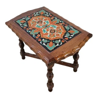 Antique Catalina Tile and Oak Mission Side Table For Sale