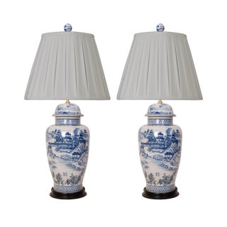 Blue and White Porcelain Lamps Pleated Shades - a Pair For Sale