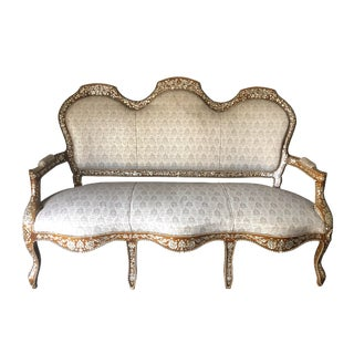 1920s Antique Mother of Pearl Inlay Settee For Sale