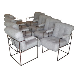 Set of 8 Modern Milo Baughman Thin Line Armed Dining Chairs For Sale