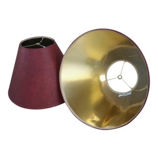 Vintage Stiffel Leather Red Gold Interior Lamp Shades - A Pair