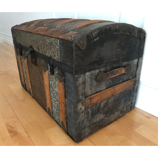 Traditional Late 1800s Irish Dome Top Carriage Trunk Chest For Sale - Image 3 of 13