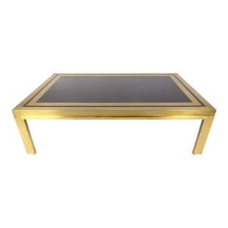 Large Vintage Brass and Glass Coffee Table For Sale