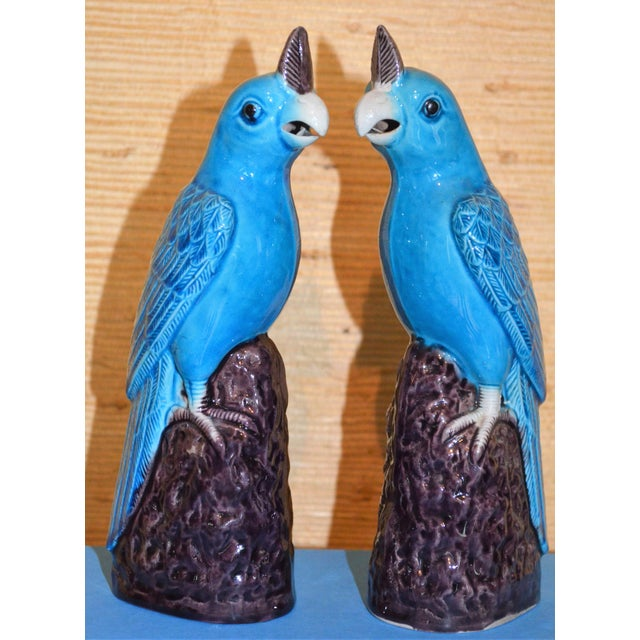 This is a beautiful pair of vintage Chinese vintage turquoise glazed porcelain figurines. They are quite old, don't know...