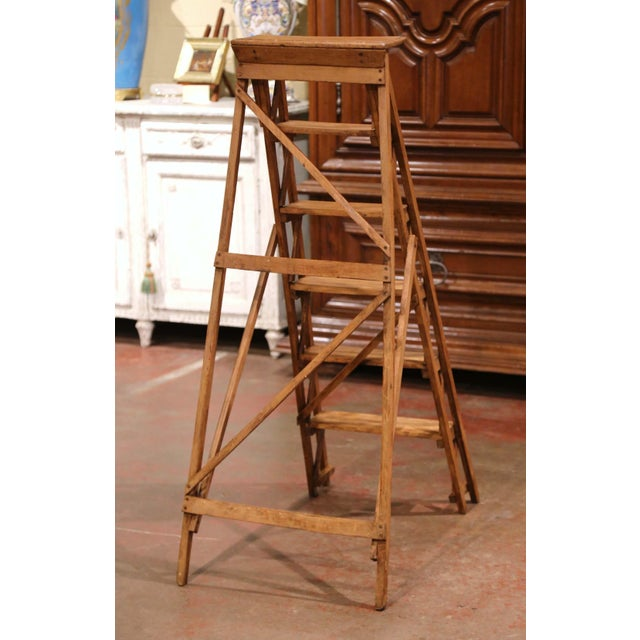 Brown 19th Century French Napoleon III Carved Walnut Folding Library Six-Step Ladder For Sale - Image 8 of 12