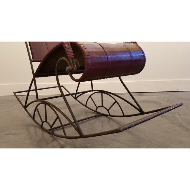 Metal Industrial Iron and Leather Rocker For Sale - Image 7 of 13