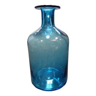 Danish Mid Century Modern Otto Holmegaard Style Blue Glass Gulvvase For Sale