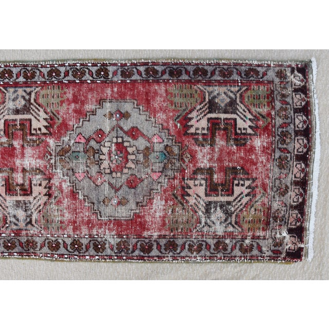 """Early 20th Century Early 20th Century Turkish Muted Reds Accent Rug - 1'9"""" X 3'5"""" For Sale - Image 5 of 9"""