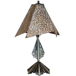 Small Art Deco Accent Lamp, Mica Shade For Sale